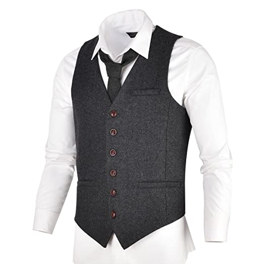 Men's Vintage Christmas Gift Ideas VOBOOM Mens Slim Fit Herringbone Tweed Suits Vest Premium Wool Blend Waistcoat $39.99 AT vintagedancer.com
