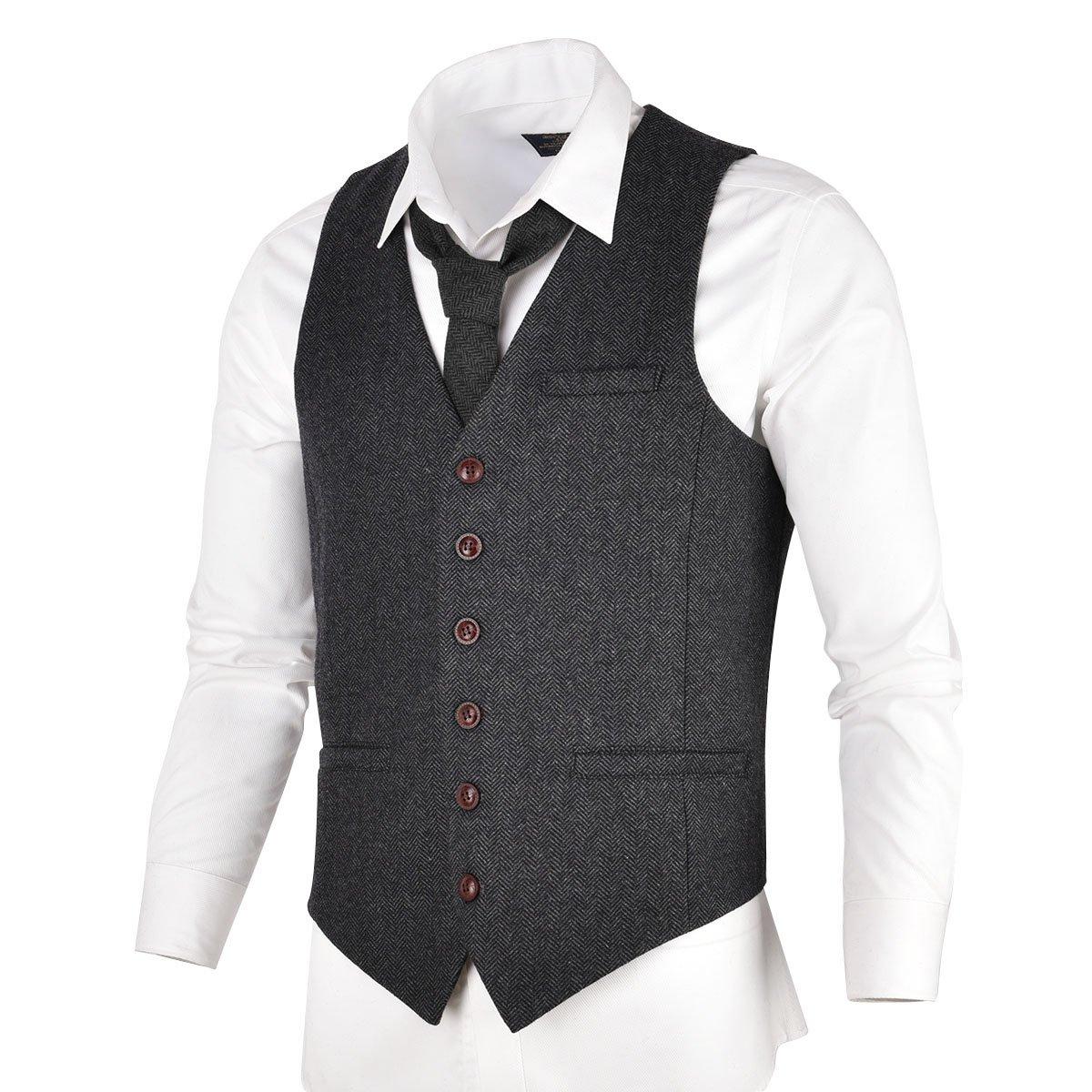 VOBOOM Men's Slim Fit Herringbone Tweed Suits Vest Premium Wool Blend Waistcoat (Dark Grey, L) by VOBOOM