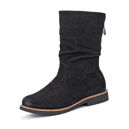 56832a4636c Rieker 97860 - Botas sin Cremallera de Sintético Mujer: Amazon.es: Zapatos  y complementos