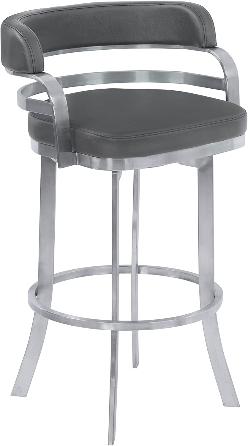 Armen Living Prinz 30 Bar Height Swivel Barstool in Grey Faux Leather and Brushed Stainless Steel Finish