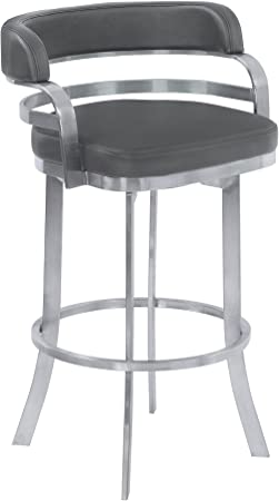 Armen Living Prinz 26 Counter Height Swivel Barstool In Grey Faux Leather And Brushed Stainless Steel Finish Furniture Decor Amazon Com