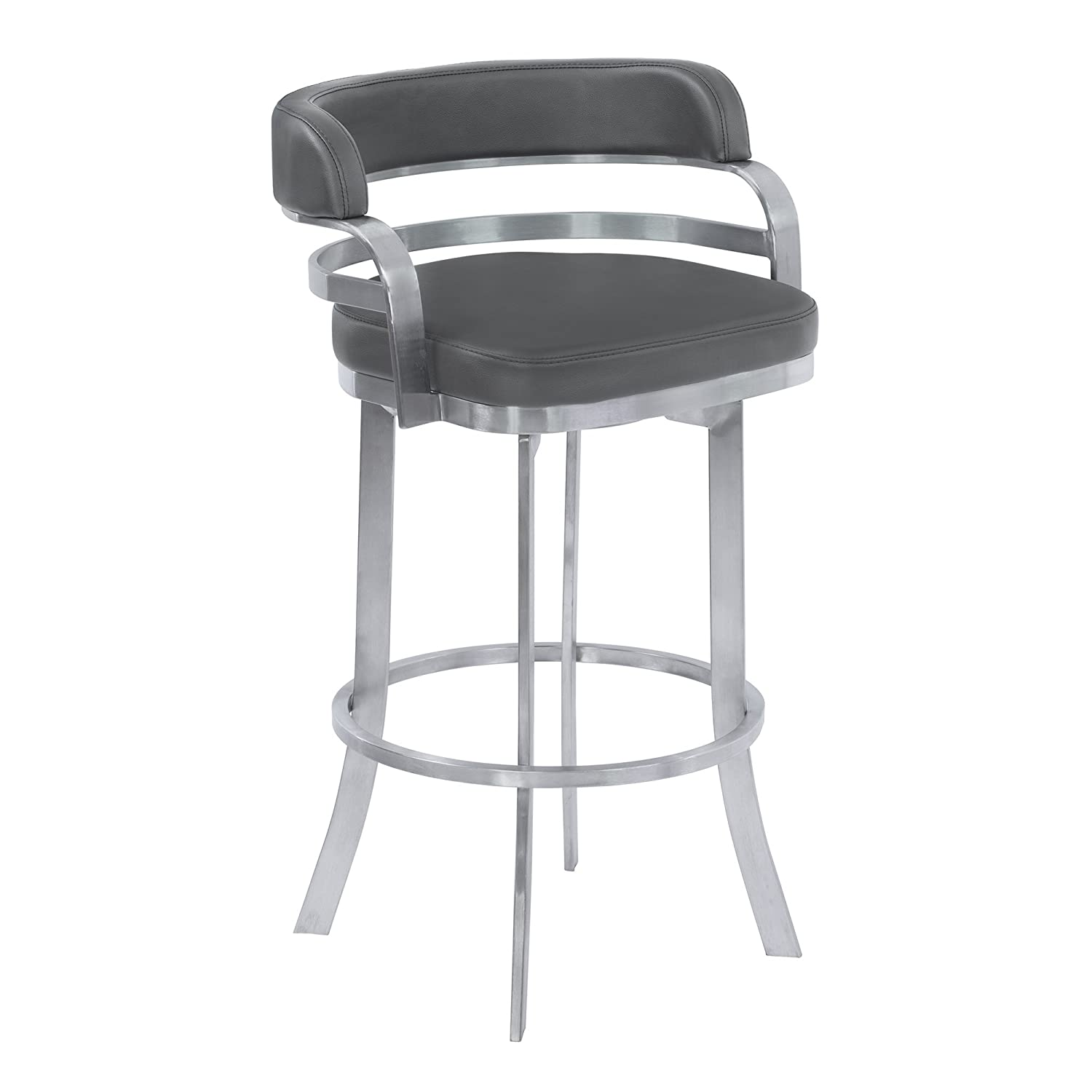 Armen Living Prinz 26 Counter Height Swivel Barstool in Grey Faux Leather and Brushed Stainless Steel Finish