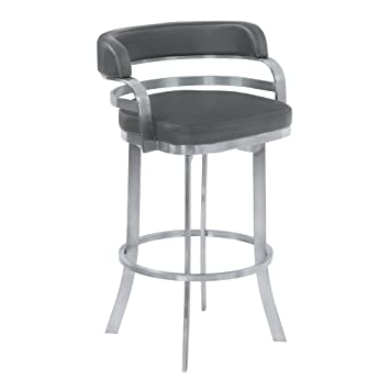 Pleasing Armen Living Prinz 30 Bar Height Swivel Barstool In Grey Faux Leather And Brushed Stainless Steel Finish Theyellowbook Wood Chair Design Ideas Theyellowbookinfo