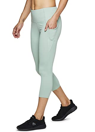 bf034c477f0c75 RBX Active Women's Power Hold High Waist Capri Leggings w/Pockets S19 Green  S