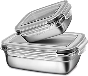 Set of 2 Lunch-Box with Leakproof Lid, Airtight Reuseable Stainless Steel Food Container for Kids or Adults, (S + M) Eco-friendly Metal Bento Box -Dishwasher Safe,BPA-FREE-Grey