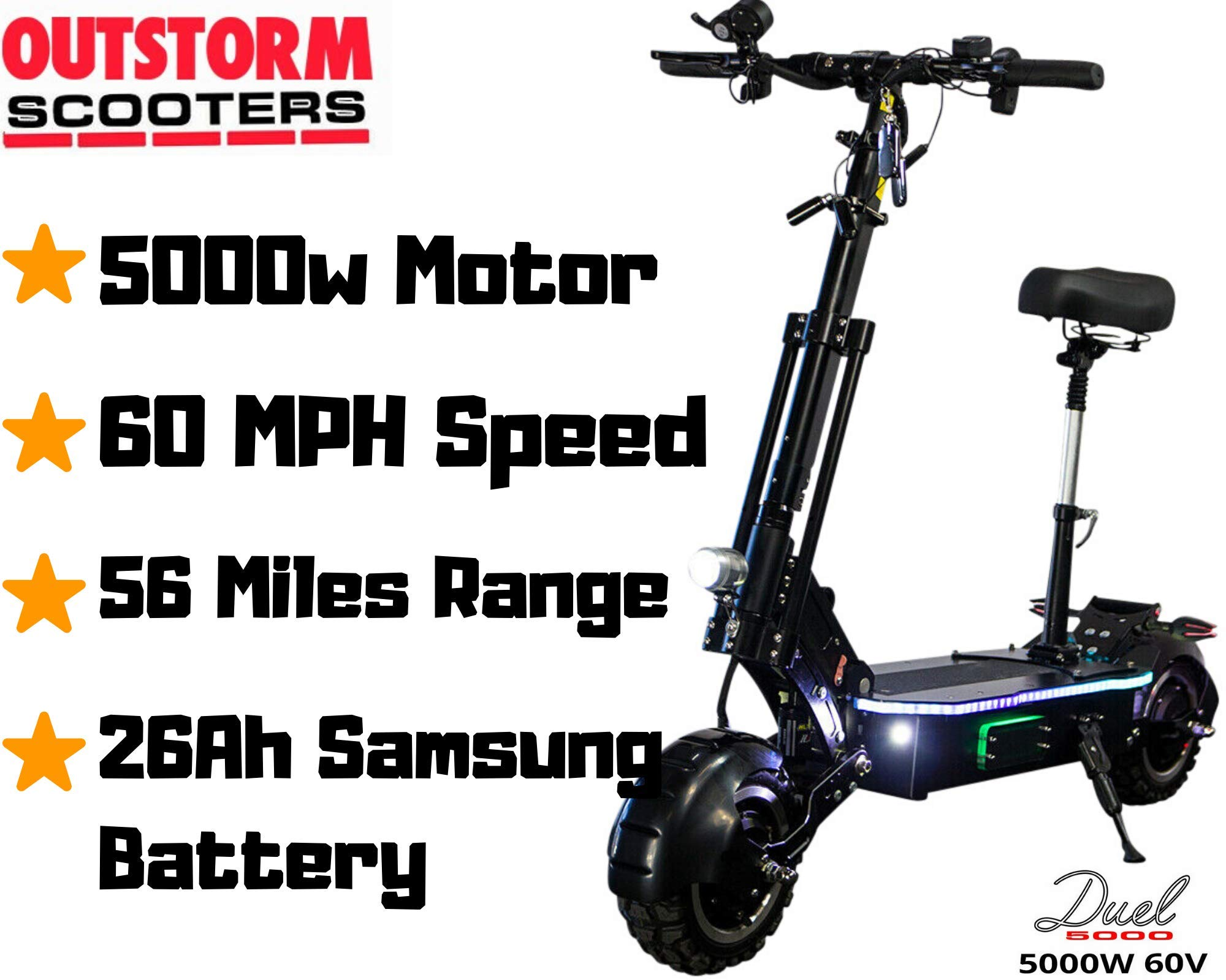 OUTSTORM 60 MPH High Speed Electric Scooter for Adults Foldable, 5000W Peak Power Dual Motor 60V/ 38.5Ah Battery, 83 Miles Max Range, 40° Climbing Grade
