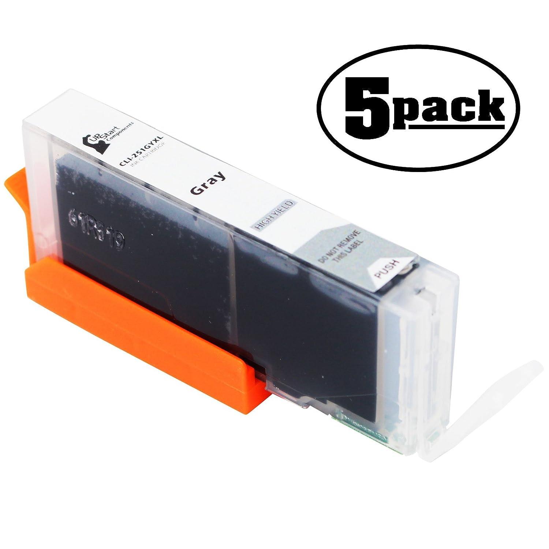 5 - Pack交換Canon Pixma mg7520プリンタグレーインクカートリッジ – 互換性Canon cli-251gy XLグレーインクタンク(Canon 251 ) B073ZLK88Q