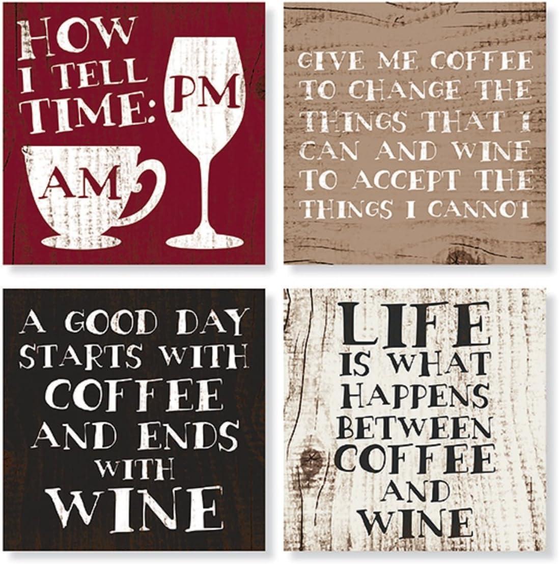 "Set of 4 ""Coffee & Wine"" Square Stone Coaster Set by Carson Home Accents,Multicolor"