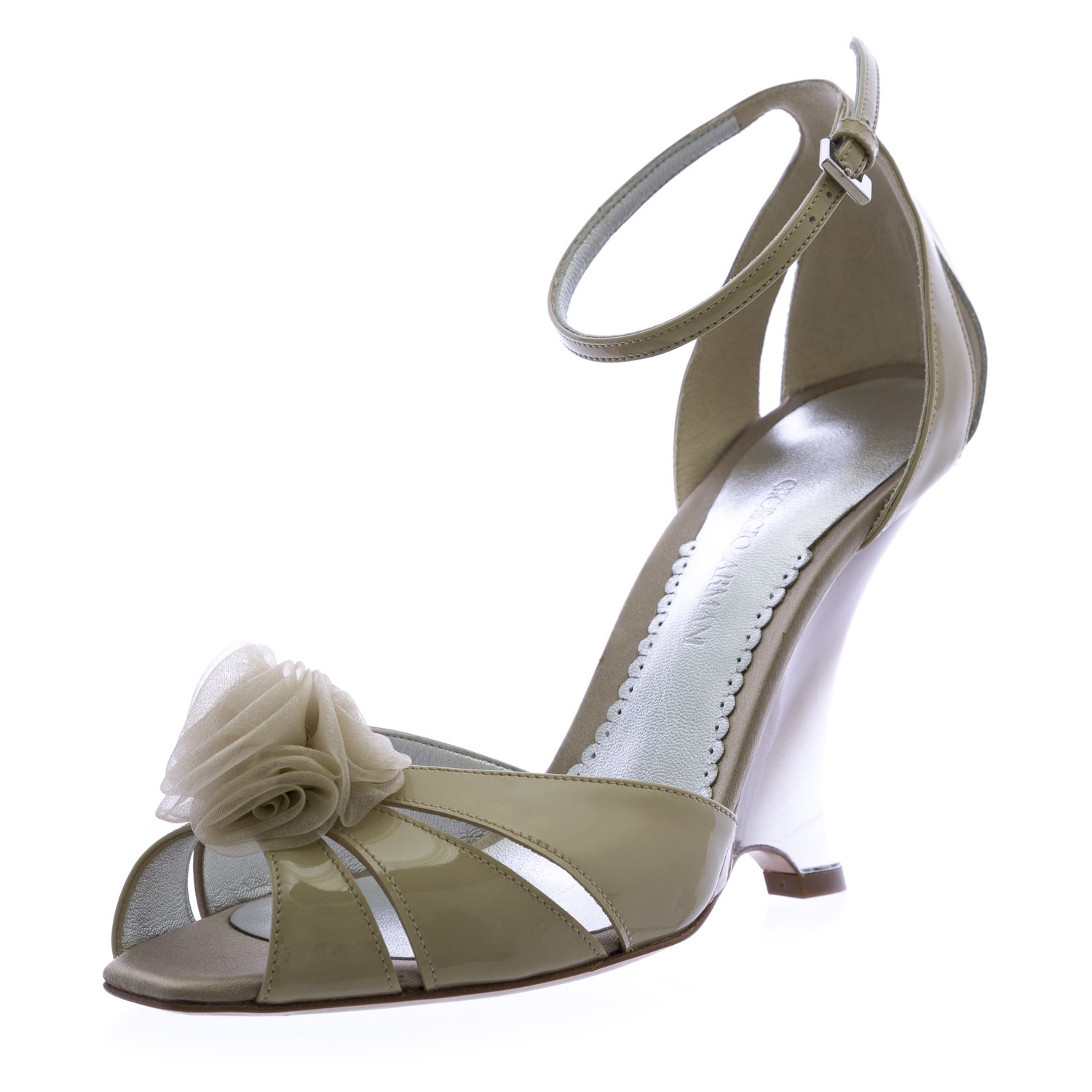 Giorgio Armani Women's Patent Leather Stiletto Wedges 7 Ecru
