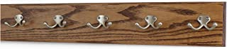 """product image for Oak Coat Rack with Satin Nickel Double Hooks 4.5"""" Ultra-wide (Chestnut, 25.5"""" x 4.5"""" with 5 Hooks)"""