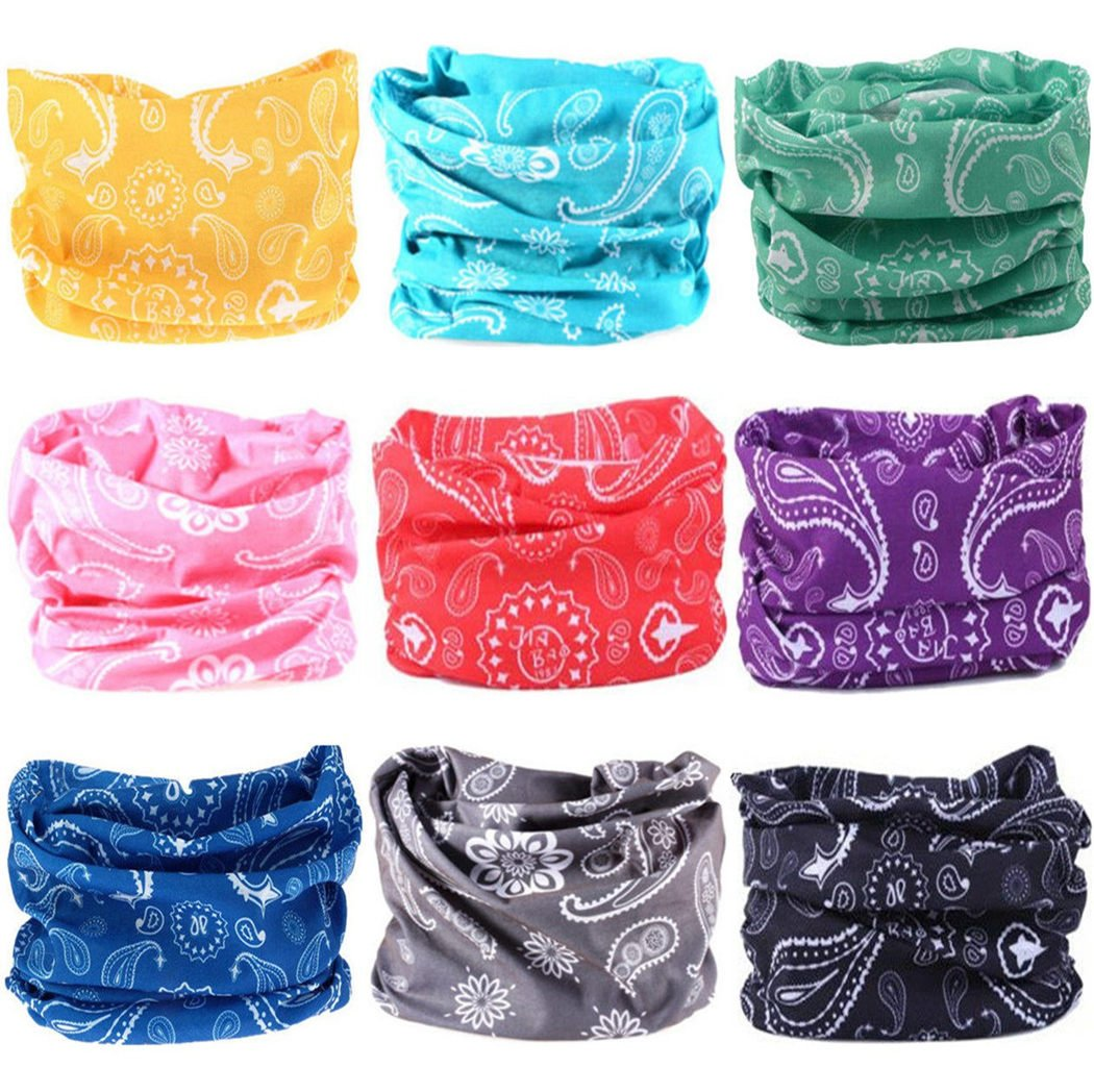 Headwear Wide Headbands Scarf Head Wrap Mask Neck Warmer by VANCROWN (9PC.Paisley Series.1)