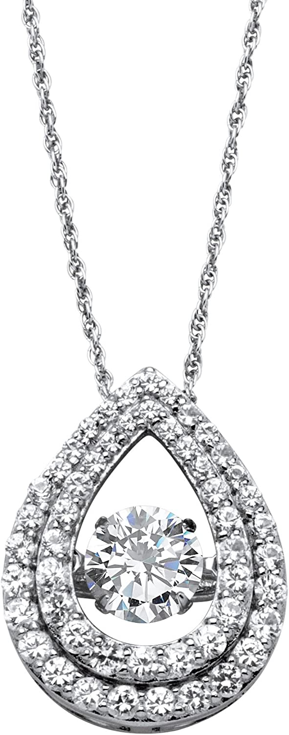 with 18 inch Chain Platinum over Sterling Silver Round Cubic Zirconia CZ in Motion Double Loop Halo Pendant Necklace 14.5mm