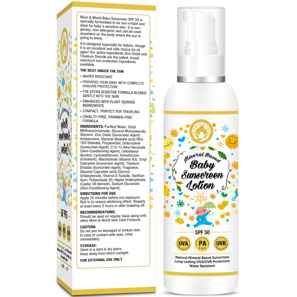 Buy Mom World Mineral Based Baby Sunscreen Lotion Spf Pigeon Shampoo Chamomile 100ml Paraben Free 50 Pa 120ml Uva Uvb Protection Water Resistance Online At Best Price In India