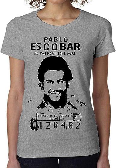 Pablo Escobar El Patron Prison Womens T-Shirt Camiseta Mujer Large: Amazon.es: Ropa y accesorios