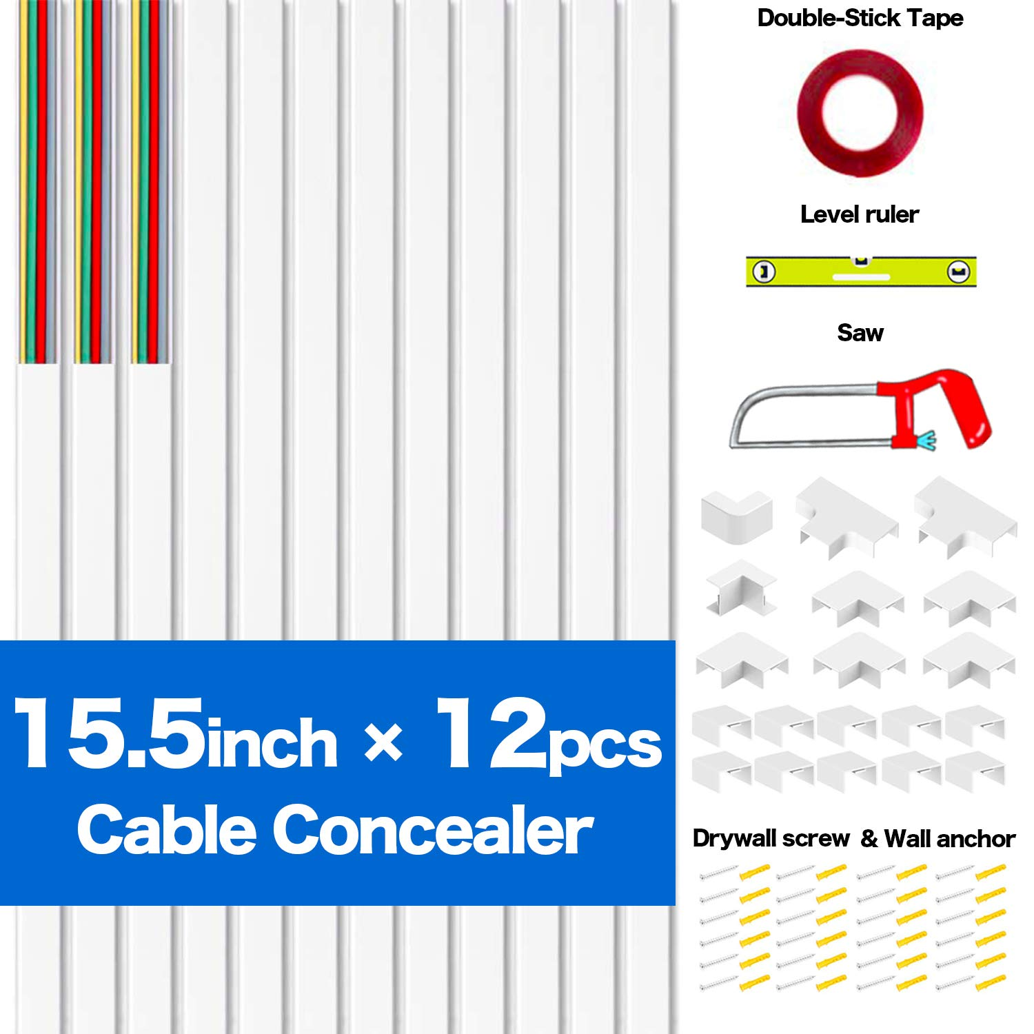 rnairni Cord Cable Concealer, 186 inch Cord Cover Raceway Kit, PVC Wire Cable Management Channel to Hide Single Power Cord,Wall Mount TV Cables - 12X L15.5, W1.18, H0.59
