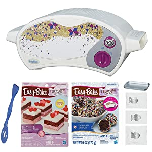 Easy Bake Oven Kit + Red Velvet and Strawberry Cake Refill + Chocolate Truffle Refill Set