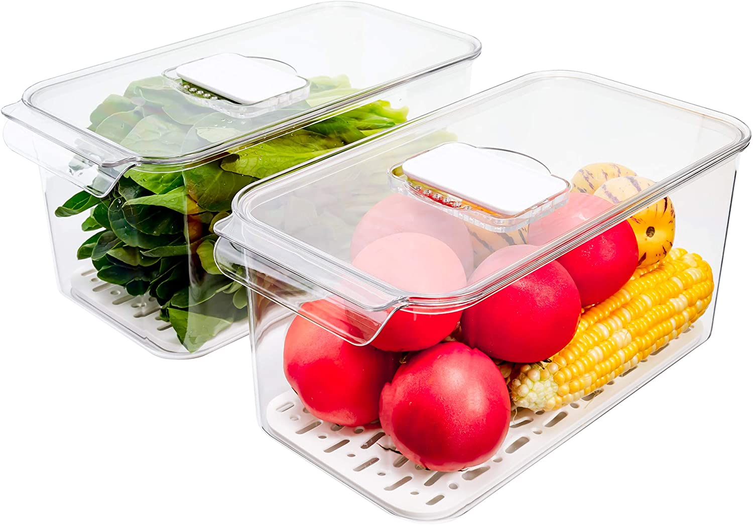 SANNO Produce Saver Refrigerator Organizer Bins with Lids And Removable Drain Tray Food Storage Container Fridge Stackable Freezer Bins For Kitchen Produce Fruit Vegetable (Set of 2)