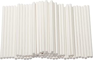 Cake Pop Sticks - 300-Count 4-Inch Paper Treat Sticks for Lollipops, Candy Apples, Suckers, White
