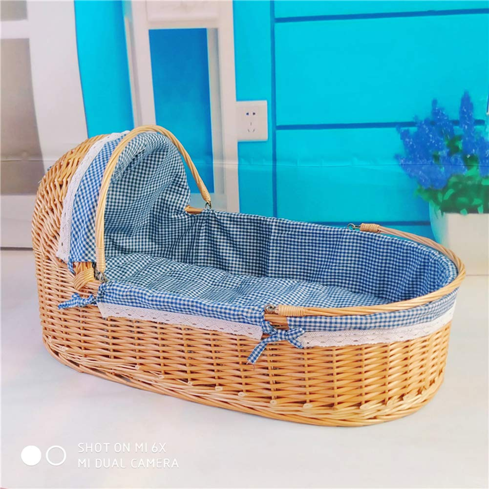 YXGH@ Baby Moses Basket Rattan Baby Basket Portable Baby Carrier Car Shopping Basket Straw Newborn Baby Sleeping Basket Cradle Bed
