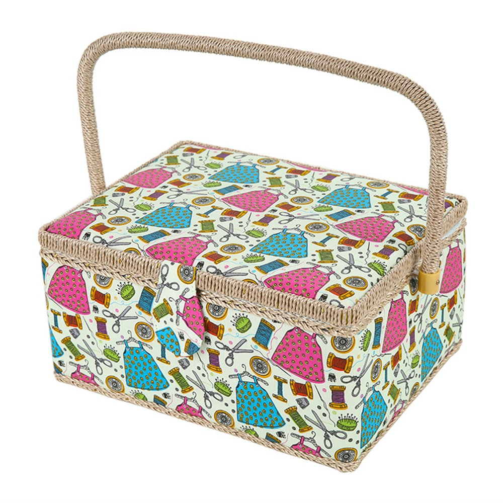 SAXTX Large Sewing Basket with 99Pcs Sewing Kit Accessories  Wooden Sewing Box Organizer with Multiple Compartments  Women Sewing Gifts for Quilting and Mending,12 x 9 x 6.5 inches by SAXTX