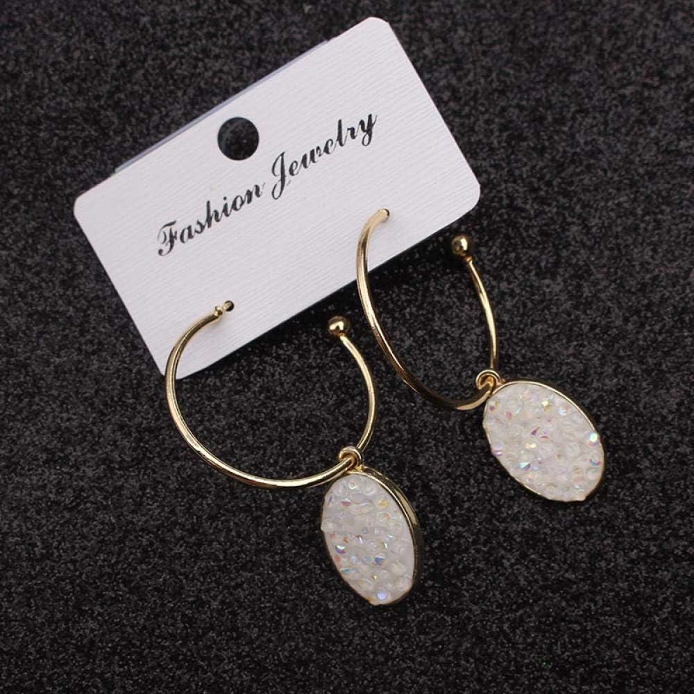 Erin Earring Pendientes Geométricos Ovalados para Mujer Pendientes Redondos De Cristal Anillo De Metal Pendientes De Diamantes De Imitación Blancos Joyas para Mujeres