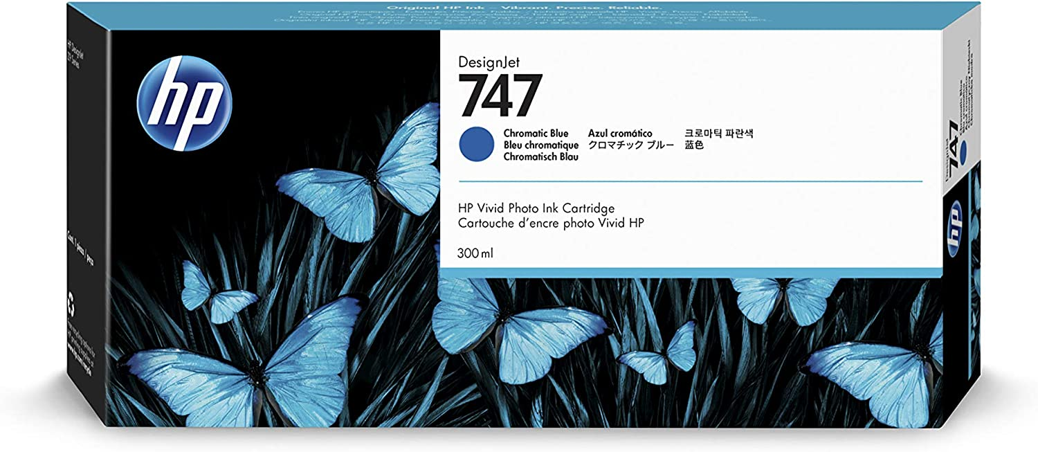 HP 747 Chromatic Blue 300-ml Genuine Ink Cartridge (P2V85A) for DesignJet Z9+ Large Format Printers