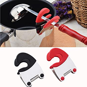 Black Clip On Metal and Silicone Spoon Rest Pot Clip New FREE SHIPPING