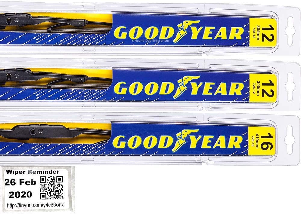 Windshield Wiper Blade Set//Kit//Bundle for 1987-1995 Jeep Wrangler Premium Driver /& Passenger Blades /& Reminder Sticker