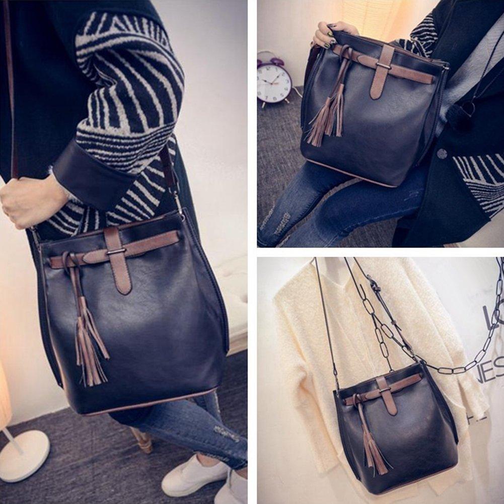Angel3292 Womens Faux Leather Tassels Decor Bucket Bag Ladies Shoulder Messenger Handbag