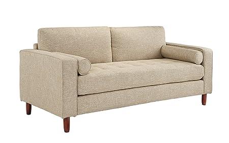 Amazon.com: Sofá moderno de tela con tejido de lino trenzado ...
