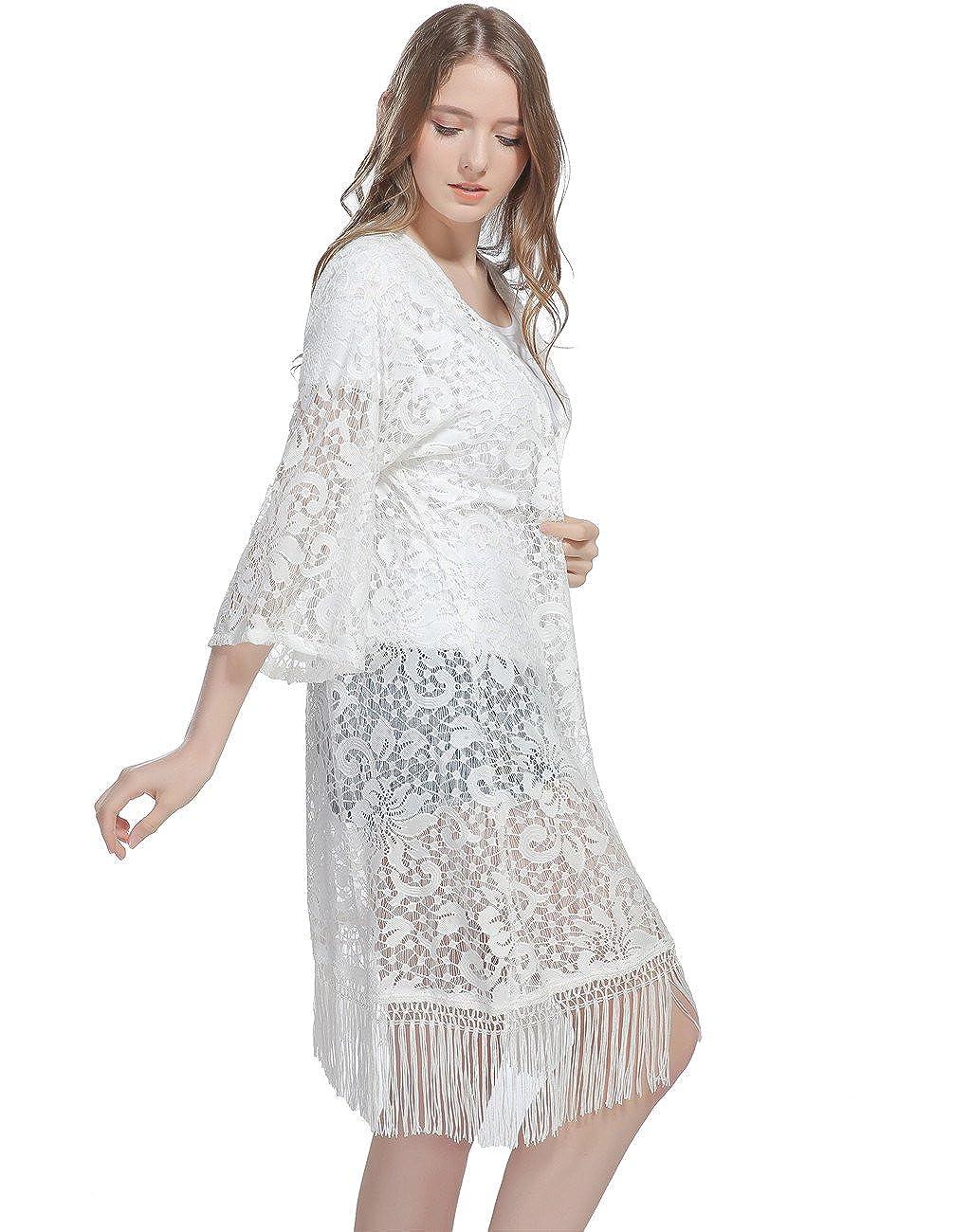 ba34f47dd2a Genovega Lace Women s Beach Kimono Cover up - Summer Sleeve White Soft  Crochet Ruana Bikini Cover Swimwear Swimsuit Coverup Dress Summer Beach  Outfit for ...