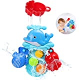 BBLIKE Baby Bath Toys Set, Floating Ocean Dolphin Themed Bath Toys for Baby with 2 Pcs Spoonfor Swimming Pool/ Bathtub, for Toddlers Boys Girls Age 2-5 Year