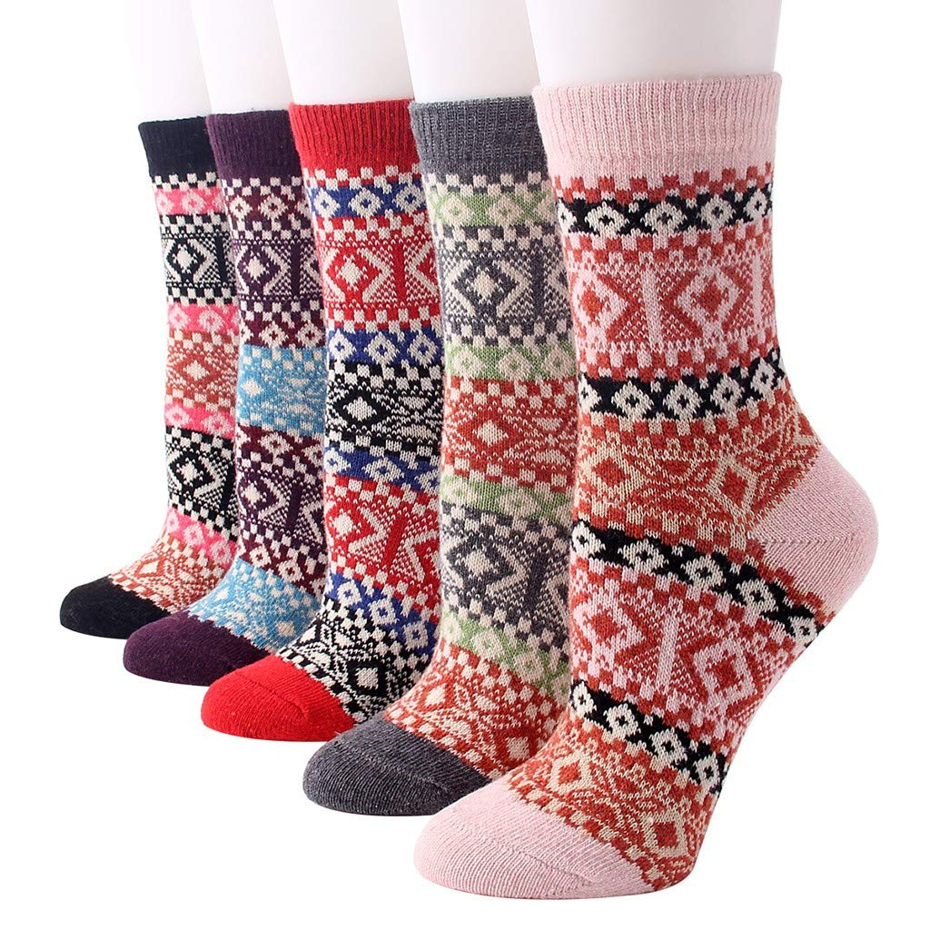 Gaowen 5 Pairs Womens Vintage Printing Thick Wool Socks Warm Winter Shaping Deodorant Cotton Stocking
