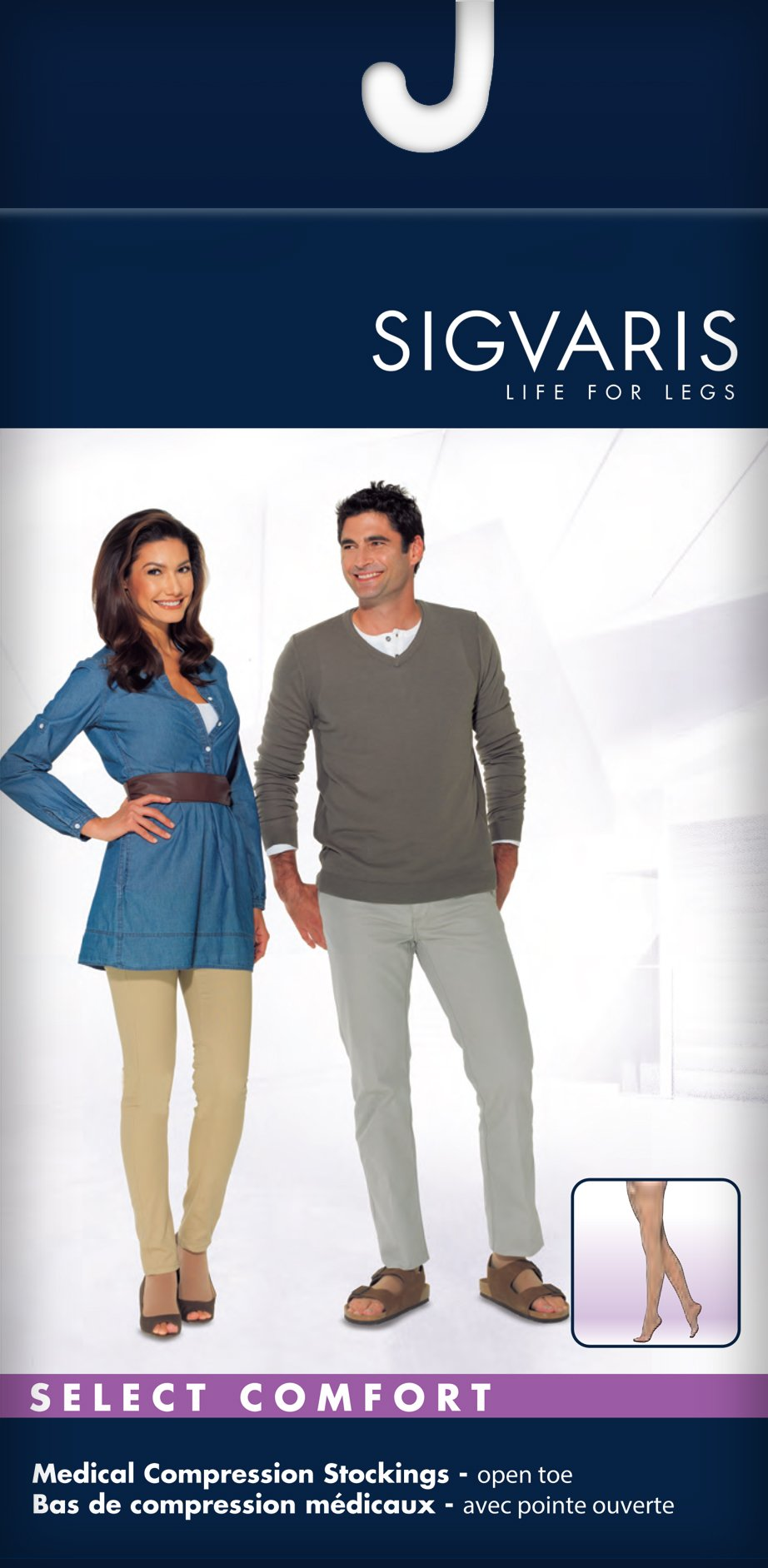 SIGVARIS SELECT COMFORT 860 Open-Toe Thigh-High Medical Hose 30-40mmHg by SIGVARIS (Image #2)
