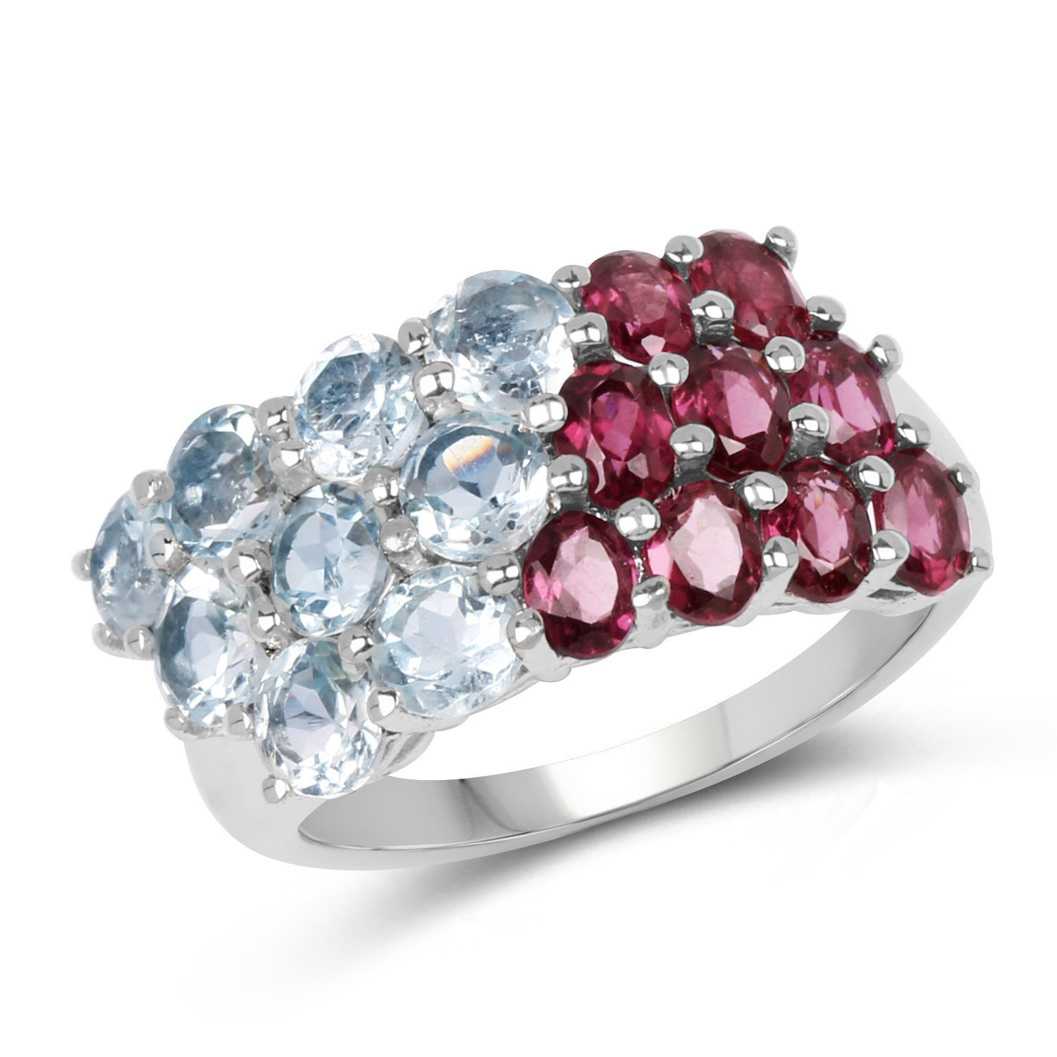 Johareez 5.13 cts Rhodolite /& Blue Topaz .925 Sterling Silver Rhodium Plated Ring for Women