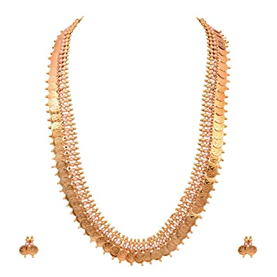 8fec1478d7 Buy Sitashi Imitation Jewellery Laxmi Temple Coin Long Necklace Set for  Girls and Women for South Indian Festivals (Red) Online at Low Prices in  India ...
