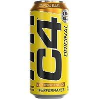Cellucor C4 Original Carbonated Zero Sugar Energy Drink, Pre Workout Drink + Beta Alanine, Sparkling Tropical Blast, 16…