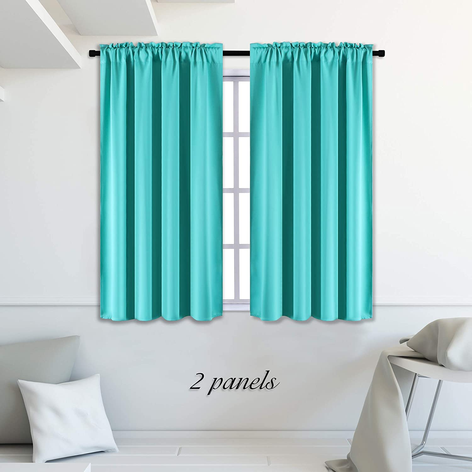 DONREN Turquoise Blackout Curtains - Room Darkening Thermal Insulated Living Room Window Curtain Panels Drapes (42 x 45 Inches Long,Set of 2)
