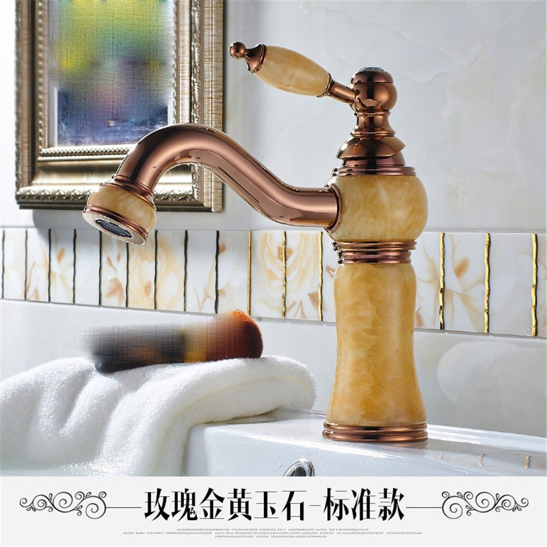 pink gold Topaz 3 Hlluya Professional Sink Mixer Tap Kitchen Faucet The Jade faucet marble washbasins pink gold basin full copper golden basin of hot and cold taps, God light blond white jade