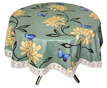 Stylista Printed Waterproof Round Table Cover with Border Laces 60 inches Diameter