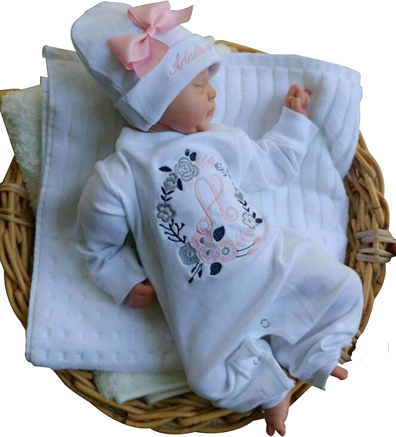 CUSTOM PERSONALIZED Baby Girl Gown and Cap Set Princess Crown Take Home Newborn