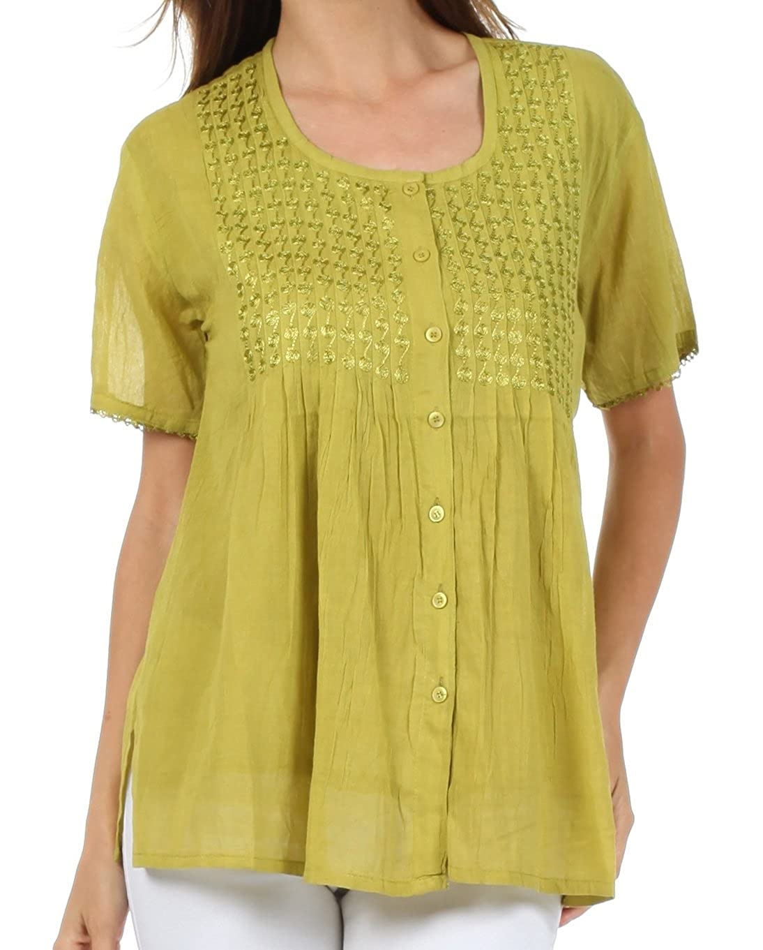 Sakkas Button Down Embroidered Short Sleeve Semi-Sheer Gauzy Cotton Top / Blouse 5055460187971