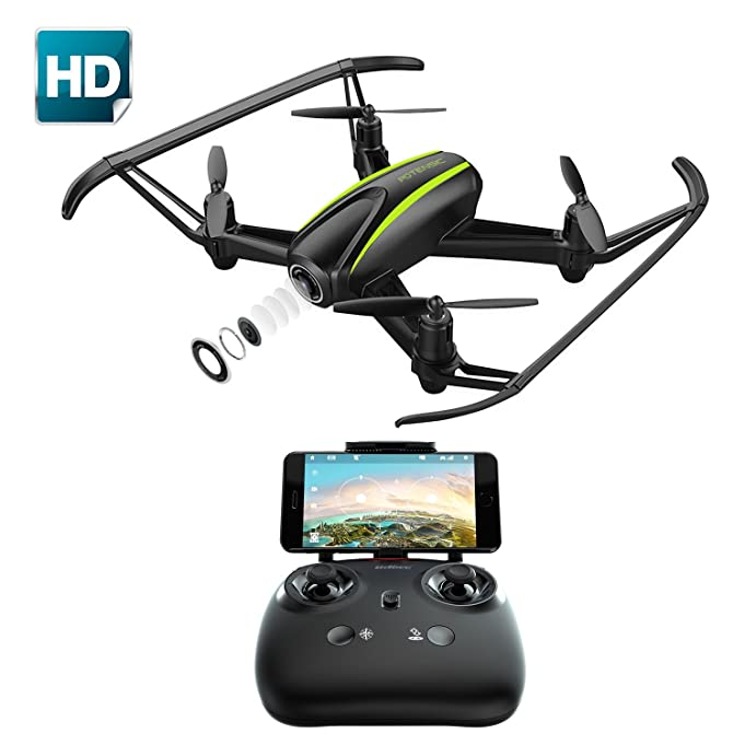 Drone with Camera, Potensic Drone Quadcopter With 720P HD Live Camera RTF 4 Channel 2.4GHz 6-Gyro(360 Degree Flip) Headless Mode & Altitude Hold Function (Black)