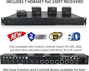 8x8 HDbaseT 4K Matrix SWITCHER with 7 PoC Receivers (CAT5e or CAT6) HDMI HDCP2.2 HDTV Routing SPDIF Audio CONTROL4 Savant Home Automation (8x8 HDbaseT Matrix with 1 HDMI Output)