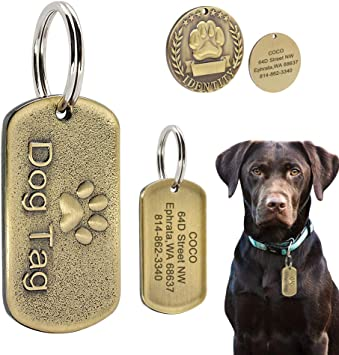 Image of Beirui Military Spec Stainless Steel Pet ID Tags - Personalised Dog Tags with Engraved Name+Number+Address - Copper Embossed Pet Tags Fits Medium Large Dogs, Dog Paw