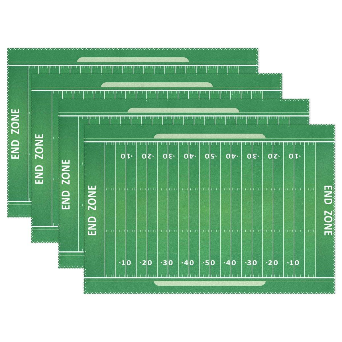 Wozo American Football Fieldプレースマットテーブルマット、Green Grass 12