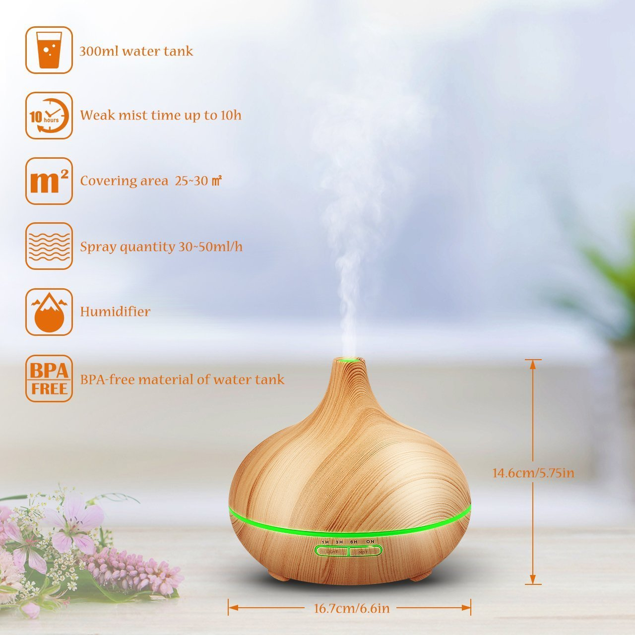 300ml cold fog humidifier ultrasonic aromatherapy essential oil disperser, wood grain 6 timing7 color LED automatic induction, no water closed function, office, home, living room, study, yoga, spa by Top-Fans (Image #2)