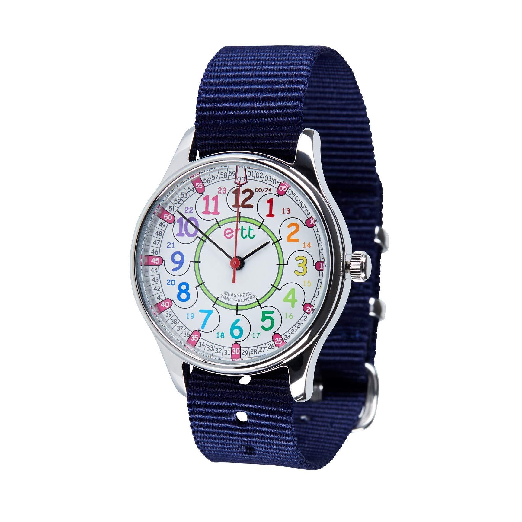 EasyRead Time Teacher WERW-COL-24-NB Rainbow Face 12/24 Hour Waterproof Watch, Navy Blue Strap by EasyRead Time Teacher