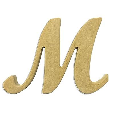 amazon com 6 capital letter m script cursive unfinished wood diy