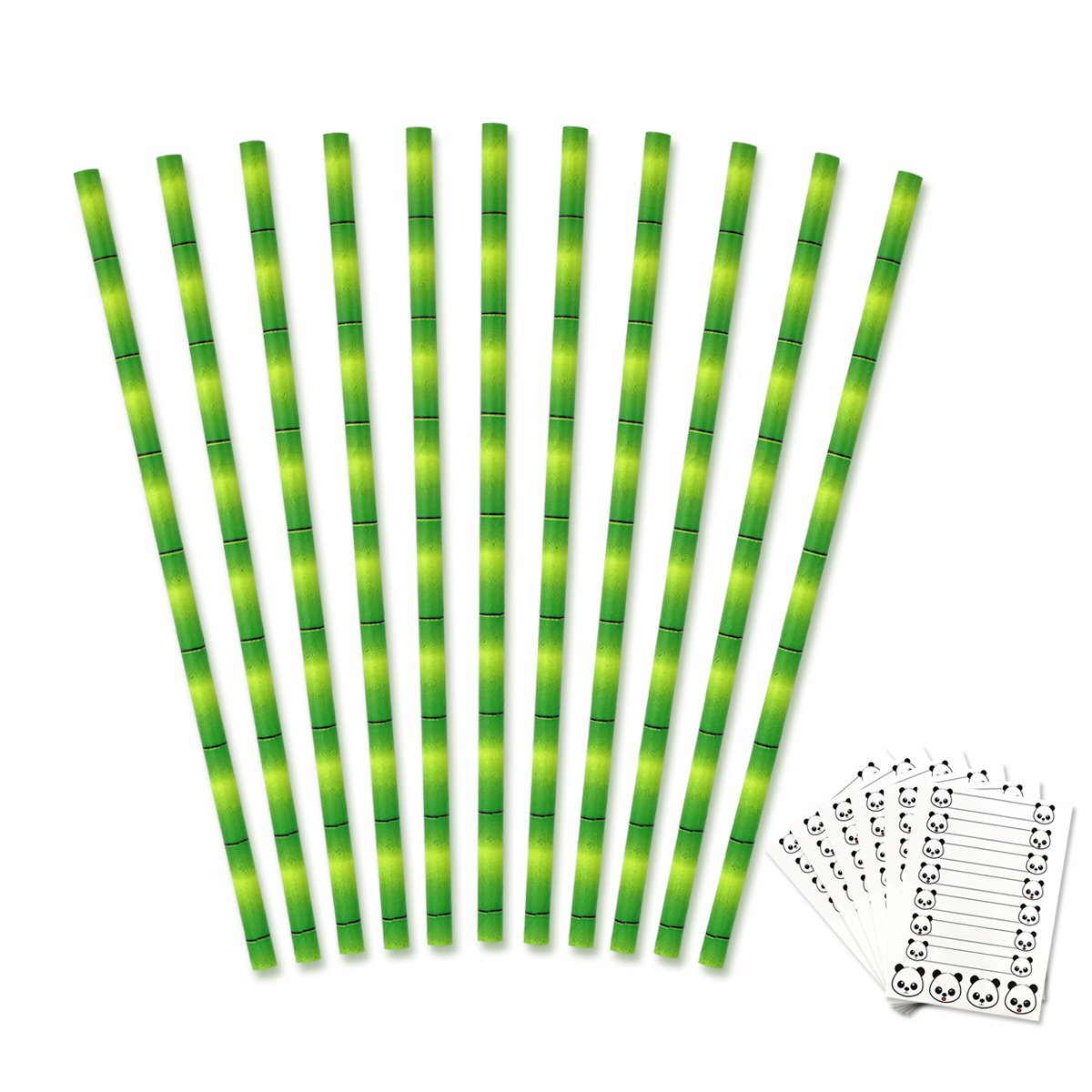 Tomnk 150pcs Paper Straws Biodegradable Bamboo and 6 Sheets Panda Stickers